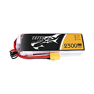 Tattu 2300mAh 14.8V 45C 4S Lipo Battery Pack with XT60 Plug for RC Car Boat Truck Heli Airplane UAV Drones FPV