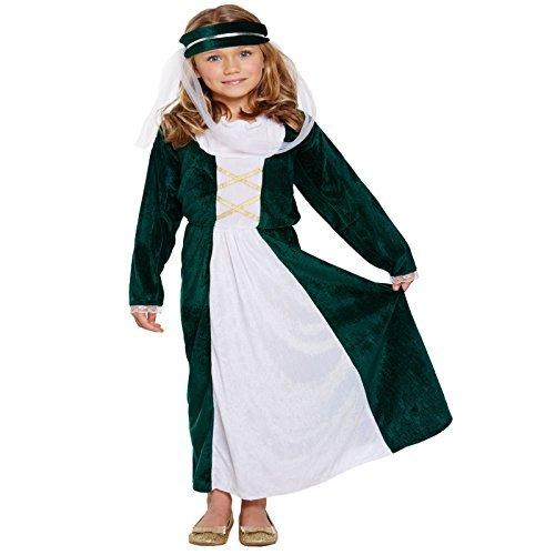Kinder Mädchen Mittelalterliche Jungfrau Kostüm Kostüm Maid Marion Königliche Tudor Halloween Outfit - 4-6 Jahre / DE 104-116 (Maid Marion Kostüm Kostüm)