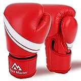 Brace Master Guantes Boxeo Cuero Unisex 8-16 OZ con Gel en Interior para Aumentar la Protección, Guantes de Entrenamiento Profesionales para Combates, Kickboxing, Boxeo, Lucha, Muay Thai al Aire Libre (Rojo, 14-OZ)