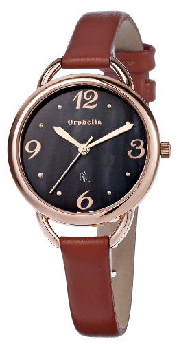 Orphelia - OR53170643 - Montre Femme - Quartz Analogique - Cadran Noir - Bracelet Cuir Marron