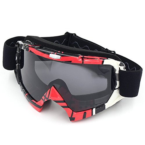 Motorradbrillen,Spohife Motocross Dirtbike Fahrrad Off-Road Schutzbrille Motorrad Goggles Crossbrille Sportbrille Wind Staubschutz Fliegerbrille Snowboardbrille Brille, Winddicht Staubdicht UV400 (Roter Rahmen,Grau Linse)