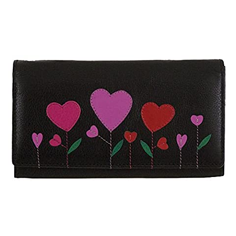 Mala Leather Angelhearts Black Large Flap Over Purse