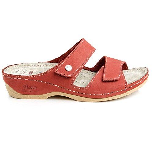 Batz FC06 Hochwertigem Komfortschuhe, Lederschuhe, Pantolette, Sandalette, Damen Rot