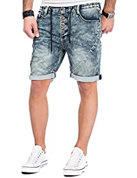 Sublevel Herren Jogg Jeans Shorts kurze Hose Bermuda Denim Sweatpants Joggjeans Vintage Used Look