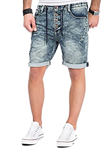 Sublevel Herren Jogg Jeans Shorts kurze Hose Bermuda Denim Sweatpants Joggjeans Vintage Used Look (W31, Dark Blue -
