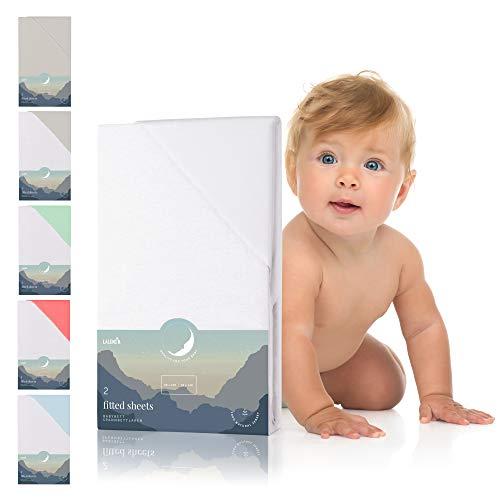 Spannbettlaken für Babybett Kinderbett - 60x120 bis 70x140 cm, atmungsaktiv, 100{057b36fd1348ff46a63014684a8c3782d61cab72a6499c2a7e8f72b17190f3ff} Baumwolle (2er Set)