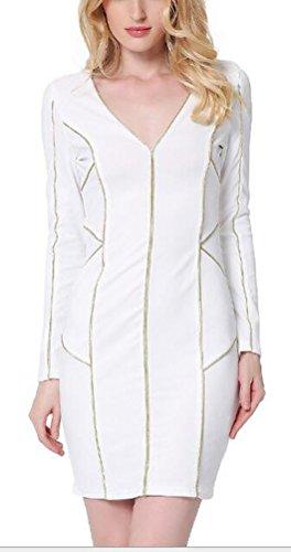 sunifsnow-abito-fasciante-basic-maniche-lunghe-donna-white-x-large