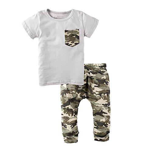 BIG ELEPHANT Bebé Chicos' 2 piezas verano manga corta camiseta camuflaje pantalones ropa conjunto K16 L