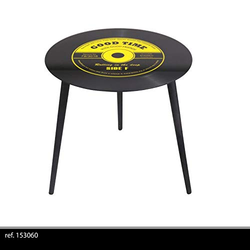 Lifetime Table APPOINT Basse Ronde Retro Disque Vinyle Verre ET Metal Salon Design