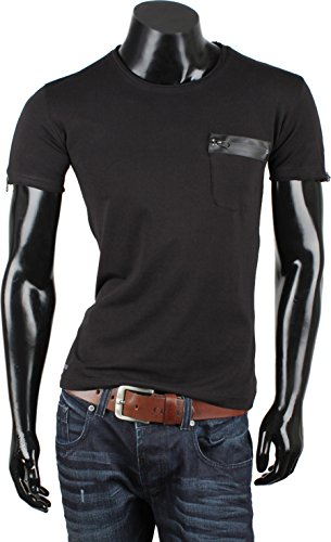 Tazzio Herren Polo Hemd Poloshirt Shirt Kurzarm Schwarz Carlet