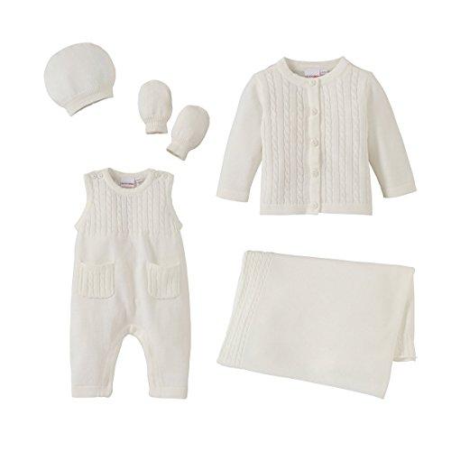 BORNINO 6tlg. Strick-Erstausstattungsset Baby-Unterwäsche Babykleidung Bekleidungspaket, weiß