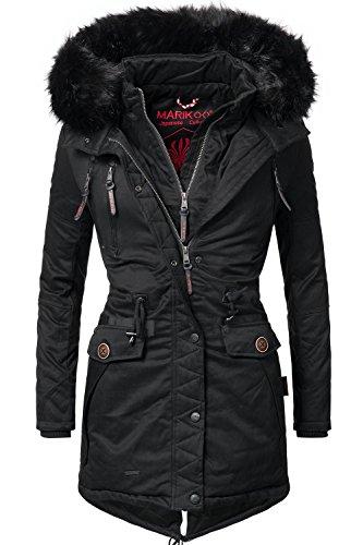 Marikoo Damen Winter Mantel Winterparka Rose (vegan hergestellt) Schwarz Gr. L