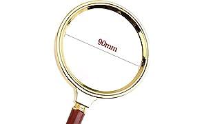 D Duze Detachable Handle 90mm Hand Lens Magnifying Glass Magnifier
