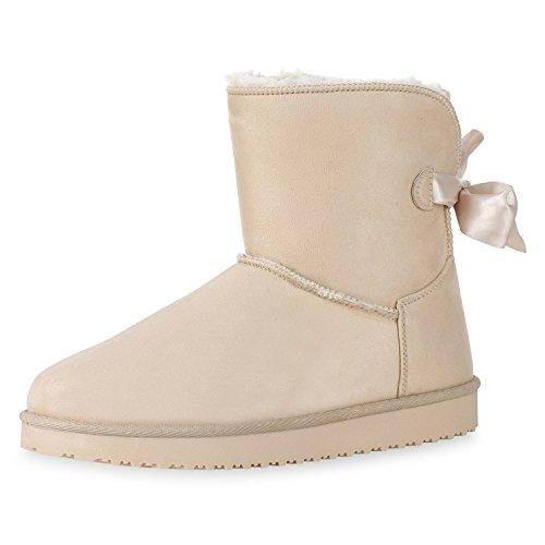 SCARPE VITA Warm Gefütterte Damen Stiefeletten Schlupfstiefel Boots Schleifen 165734 Creme Warm Gefüttert 41