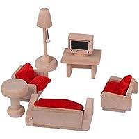 UEETEK Hölzerne Wohnzimmer Set Mininature Puppenhaus Möbel Spielzeug für Kinder Kinder