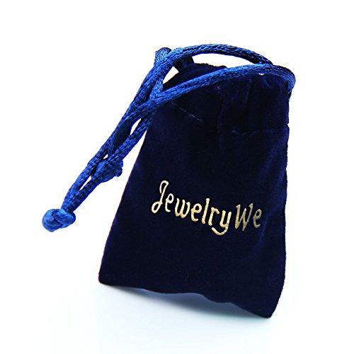 """JewelryWe Schmuck Edelstahl Paare Halskette, 2 Ringe Verriegelung mit """"Forever love"""" Gravur Anhänger, Partneranhänger mit 45cm und 50cm Kette, Partnerketten für Damen Herren ein Paar"""