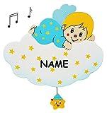 Spieluhr aus massiven Holz - blauer Engel auf Wolke incl. Name' Wiegenlied - Guten Abend Gute Nacht' - Musikspieluhr für Kinder mit Spielwerk - Wand / als Wandbild - Sterne Mond Engelchen Jungen - Kinderzimmer Melody - Tiere