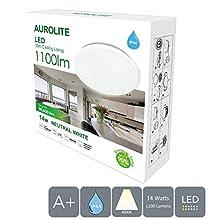 AUROLITE Plafonnier LED semi-encastré ultra fin 14 W 1100 lm Blanc naturel (4 000 K) IP44, idéal pour le salon, la chambre, la cuisine, le couloir, la salle de bain