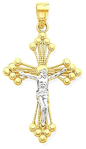 IceCarats 10k Yellow Gold Crucifix Cross Religious Pendant Charm Necklace