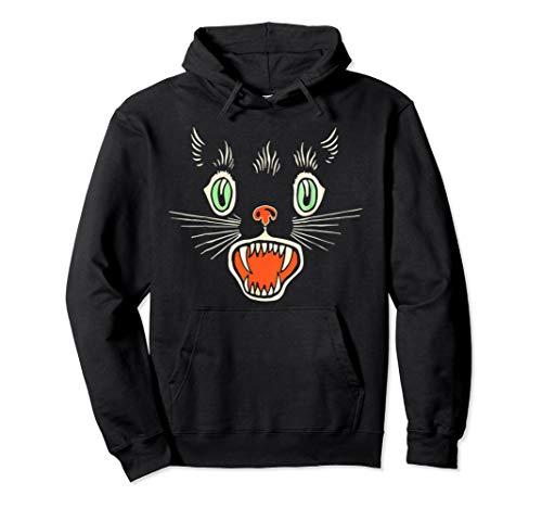 Vintage Scary Black Cat Face Horror Halloween Geschenk Pullover Hoodie (Scary Black Cat Kostüm)