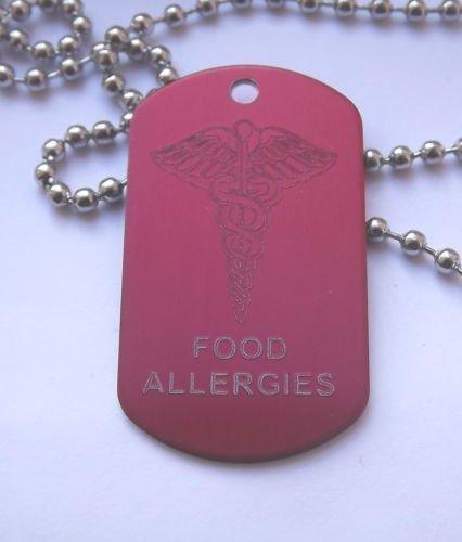 Mit rotem Neoprenanzug Response Emergency Medical Alert Lebensmittel Allergien Hundemarke und Halskette mit gratis Gravur