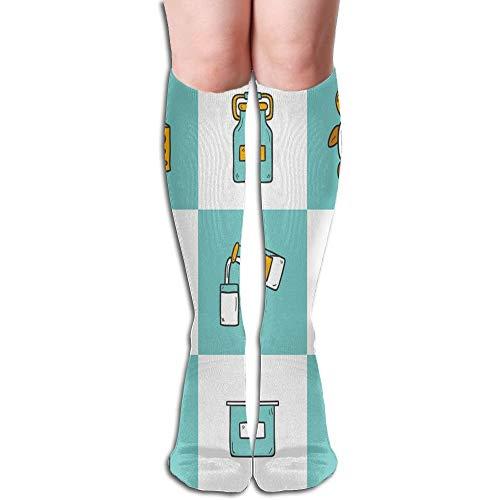 hohe Socken Käse Milch Kuh Reis Sportlich Kniestrümpfe 50cm ()