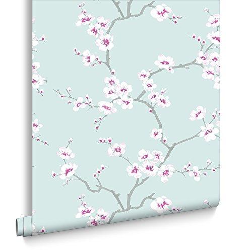 fresco-apple-blossom-floral-teal-wallpaper