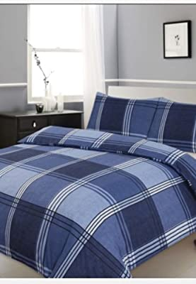 King Size Duvet /Quilt Cover Bedding Set Hamilton Check Blue Checked /Striped