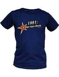 T-Shirt als lustiges Geschenk zum Geburtstag - 1981 A Star was Born - Geburtstagsgeschenk mit Jahrgang - Blau