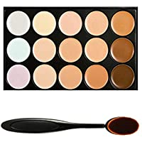 Boolavard Professional 15 Farbe Concealer Tarnung Contour Eye Gesichtscreme Make-up Palette mit Kosmetik Oval Make-up Pinsel (15 Farben)