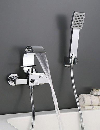 Contempo Single (khskx Wand montiert verchromtem Contempo römischen Badezimmer Wasserfall Wasserhahn mit Handbrause)
