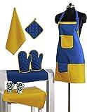 WONDERLIST Handicraft - Grembiule da Cucina in Tessuto 100% Cotone, Colore: Blu e Giallo, con Presa, Guanti da Forno e tovaglioli