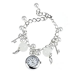 Skylofts White Pearl Hanging Charm Watch Bracelet For Girls