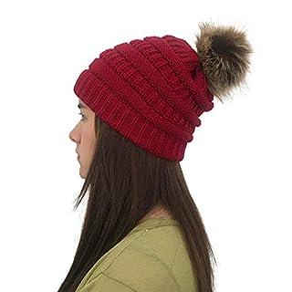 Quaan-Hut Damen bunt Muster Winter Outdoor Fleece warm wintermütze/Beanie mütze mit Pompon bommel