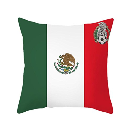 YouN Russia World Cup National Flag Print Cushion Cover Pillow Case(Mexico