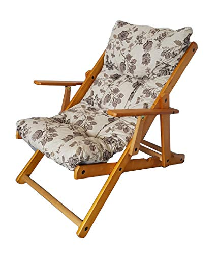 Totò piccinni poltrona sedia sdraio harmony relax in legno pieghevole 3 posizioni (grigio floreale)