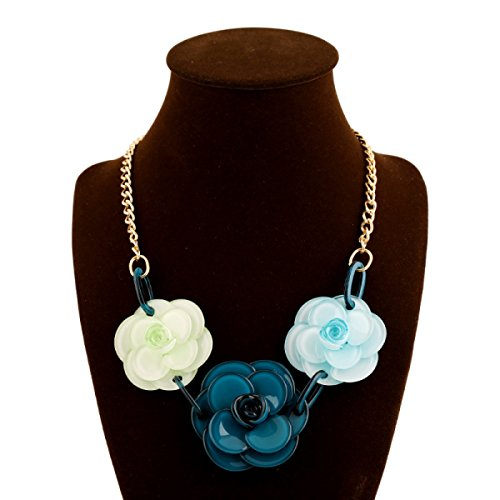 Mode Version Coréenne Des Filles Populaires Résine Collier De Fleurs blue