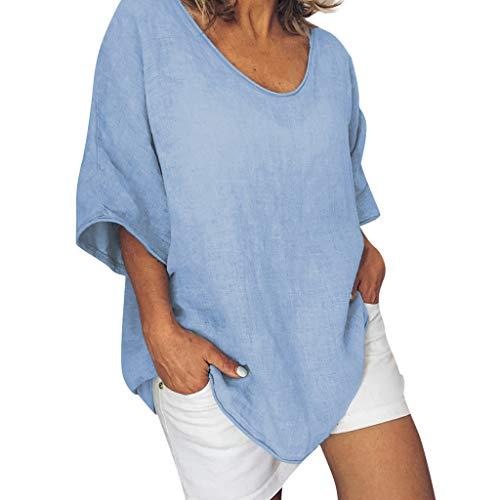 Zegeey Damen Oberteil Einfarbig Halbe ÄRmel Rundhals T-Shirt Shirts Tops Tunika LäSsige Lose (Blau,EU-42/CN-XL)