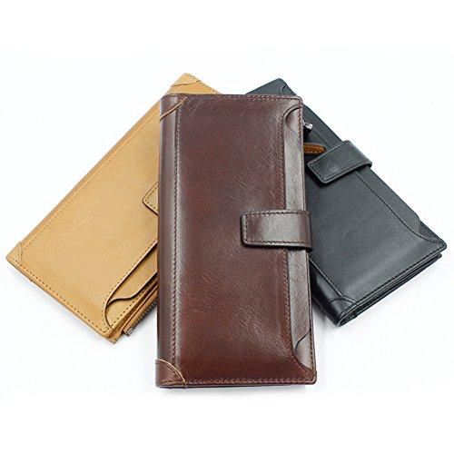 [DEMEDO] Handgefertigte Leder Flip Wallet, (Short Wallet Series) Karten, Bargeld, Münze und Bild sind alle kompatibel. - Kaffee Schwarz