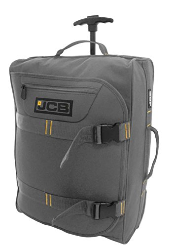 NEW JCB LIGHTWEIGHT WHEELED FLIGHT CABIN TRAVEL BAG SUITCASE CASE HAND LUGGAGE HOLDALL (Grey)