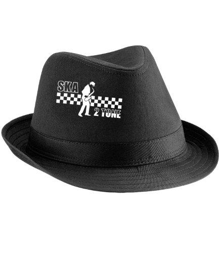 Ska 2 Tone Trilby Hat - Black - Small / Medium