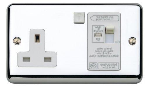 MK twin 13A Active 30mA RCD socket LN K6233