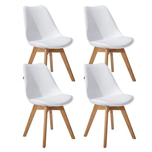 EGGREE 4er Set Esszimmerstühle Skandinavisch Küchenstuhl Stühle Modern mit Massivholz Eiche Bein und Kunstlederkissen, Weiß (Weiß Esszimmer-set Modern)