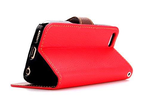 MOONCASE iPhone 5C Case Coque en Cuir Portefeuille Housse de Protection Étui à rabat Case pour iPhone 5C Rouge Rouge