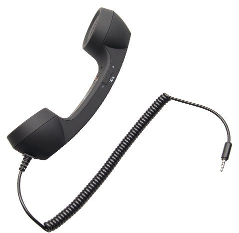 MStick Classic Coco Phone Telephone Style Phone 3.5mm Radiation Free Wired Handset Receiver For Smartphones | Tablets | Laptop - Black