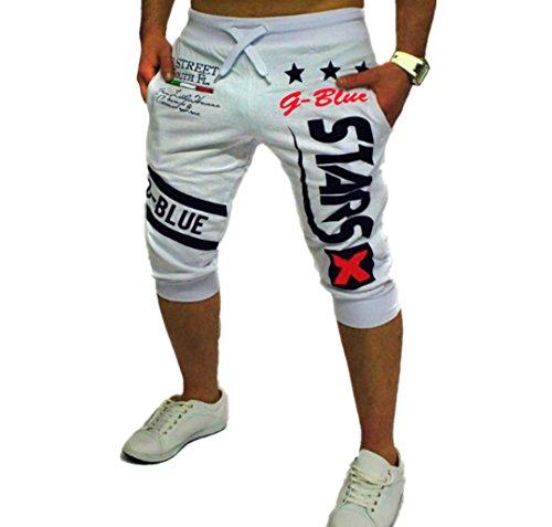 Preisvergleich Produktbild ZEZKT-Herren Casual Hose Kurz Fitness Loose Crotch Hose Hiphop Dance Jogger Sweatpants Baggy Designer Chino Stoff Hose Regular Fit Outdoorhose Freizeithose Stretch Basic (M,  Weiß)