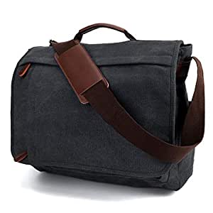YANGYANJING Unisex Casual High Quality Computer Messenger Bag Water-Resistance Canvas Satchel Shoulder Bag 15.6 Inch Laptop for Travel Work College