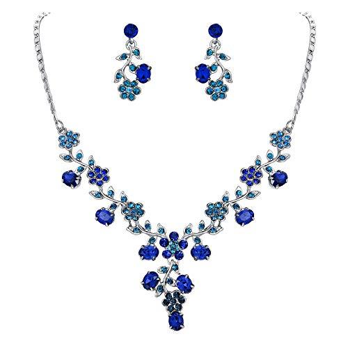 Ever Faith Collana del foglio del fiore orecchini set di cristallo austriaco Silver-Tone - Blu N03848-10