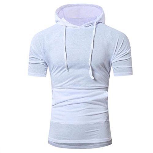 T-Shirts,Honestyi 2018 Männer Frühling und Sommer Mode mit Kapuze Kurzarm T-Shirt Kurzarm Shirt Rundhalsausschnitt Steifen Einfarbige Baumwolle Sweatshirts Blusen Tops M-XXL (XL, Weiß)
