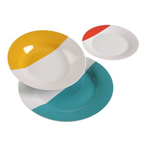 Versa 10500245 Vajilla 18 Piezas baratas, 3x27x27cm, Porcelana, Blanco, Amarillo, Rojo